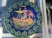 RARE Gorgeous Maling Galleon Ship Cobalt Blue Tube-lined Plate Charger c1930's